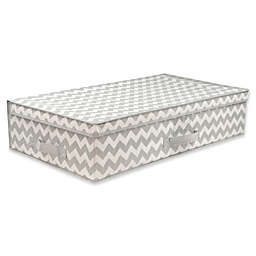 Home Basics® Chevron Under-the-Bed Storage Box with Lid in Grey