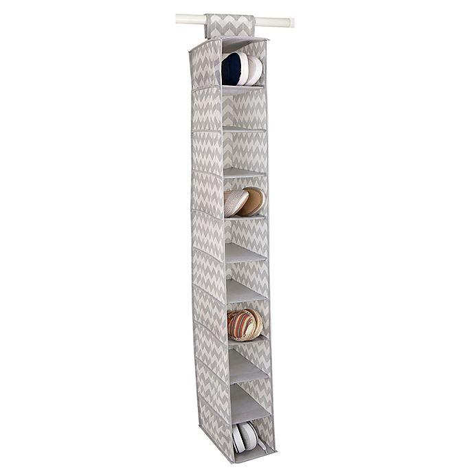 Alternate image 1 for Home Basics® Chevron 10-Shelf Hanging Closet Organizer in Grey