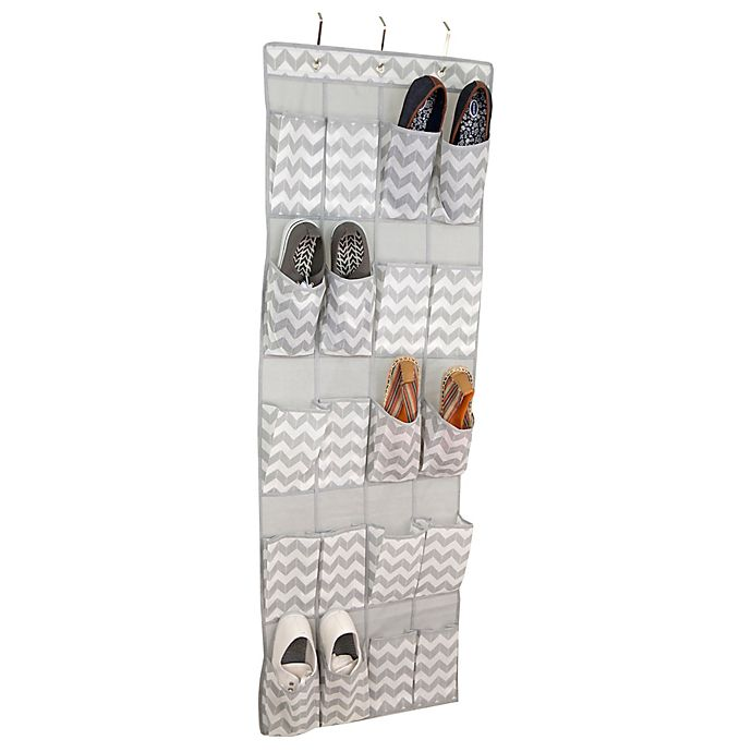 Alternate image 1 for Home Basics® Chevron 20-Pocket Over-the-Door Shoe Organizer in Grey