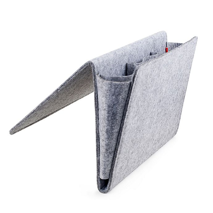 Alternate image 1 for Kikkerland® Large Bedside Felt Caddy Pocket in Grey