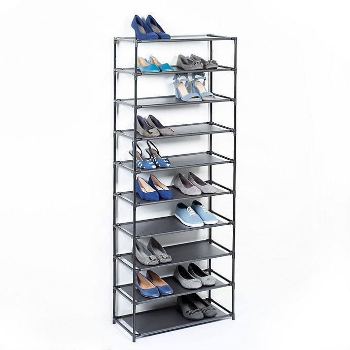 Alternate image 1 for Studio 3B™ 10-Tier Fabric Shoe Rack in Black