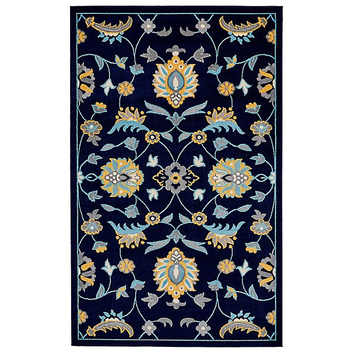 Feizy Aileen Floral Area Rug In Aqua/Navy