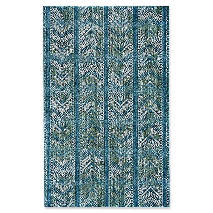 Feizy Vassar Chevron Rug in Blue | Bed