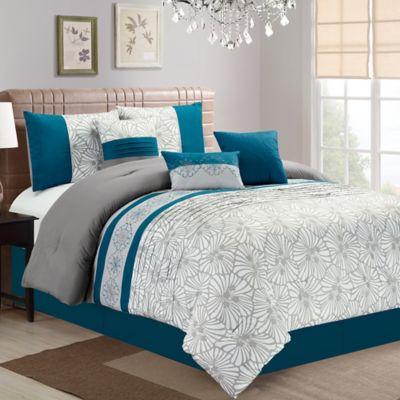 Aiden Floral Embroidered Comforter Set Bed Bath Amp Beyond