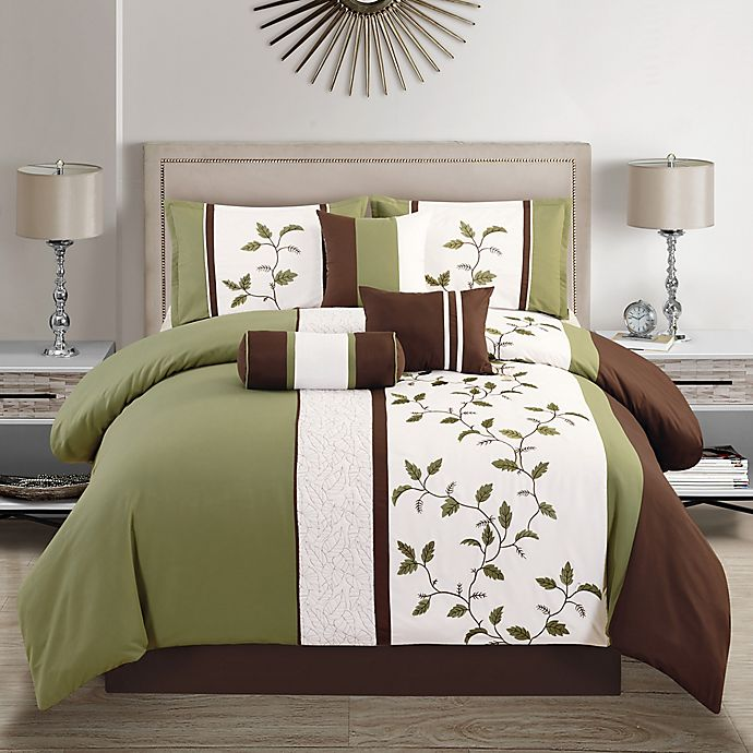 Outrageous Green And Brown Bedroom: Elight Home Woodchase Comforter Set