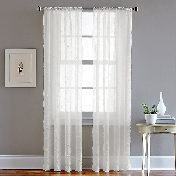 Alternate image 1 for Pintuck 63-Inch Rod Pocket Sheer Window Curtain Panel in White
