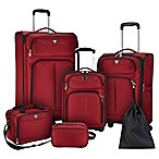Travelers Club® Hartford 6-Piece Soft Side Luggage Set in Red