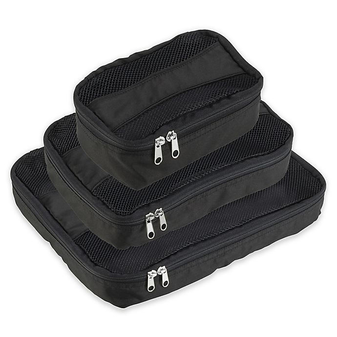 Alternate image 1 for Latitude 40<strong>°</strong>N® Packing Cubes 3-Pack in Black