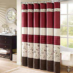 Madison Park Serene 72-Inch x 84-Inch Embroidered Shower Curtain in Red