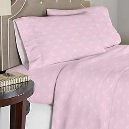 Lullaby Bedding Ballerina Twin Sheet Set in Pink/White