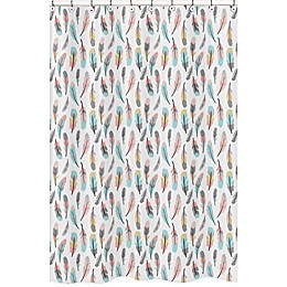 Sweet Jojo Designs® Feather Shower Curtain in Coral/Turquoise