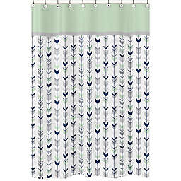Sweet Jojo Designs Mod Arrow Shower Curtain in Grey/Mint