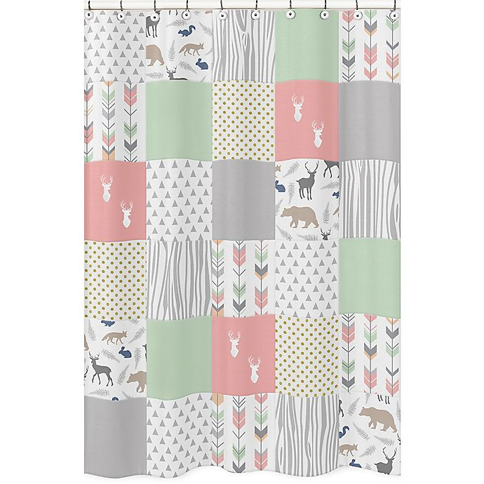 Alternate image 1 for Sweet Jojo Designs Woodsy Shower Curtain in Coral/Mint
