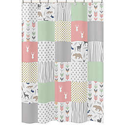 Sweet Jojo Designs Woodsy Shower Curtain in Coral/Mint