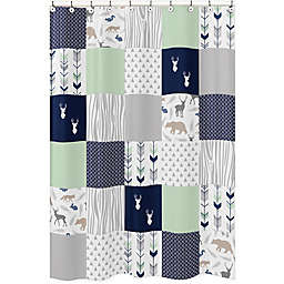 Sweet Jojo Designs Woodsy Shower Curtain In Navy Mint