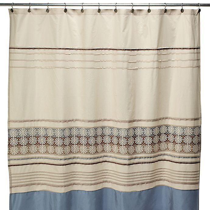 Blue And Tan Curtains: Lyon Blue And Brown Fabric Shower Curtain