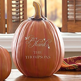 Give Thanks Personalized Large Pumpkin in Orange