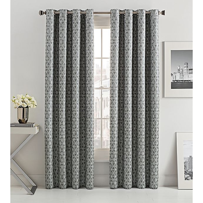 Alternate image 1 for Mosiac Tria Lined 63-Inch Grommet Top Window Curtain Panel in Graphite