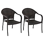 Barrrington Stacking Wicker Chairs in Brown (Set of 2)