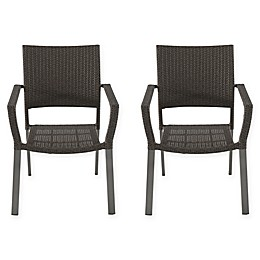 All-Weather Wicker Square Stacking Chairs (Set of 2)