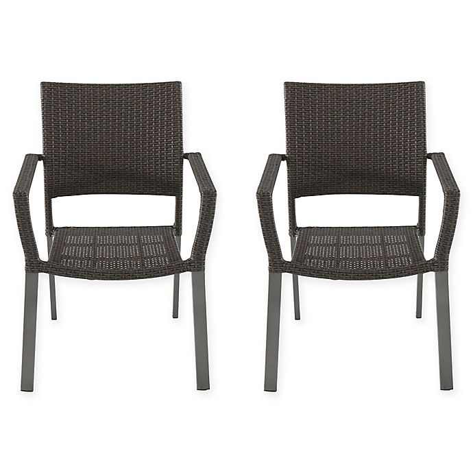 Alternate image 1 for All-Weather Wicker Square Stacking Chairs (Set of 2)