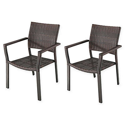 Barrington Square Stacking Wicker Chairs (Set of 2)