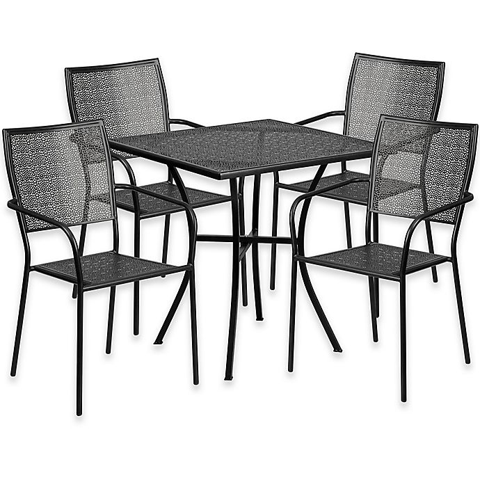 Alternate image 1 for Flash Furniture 5-Piece 28-Inch Square Steel Patio Table and Square Chairs Set in Black