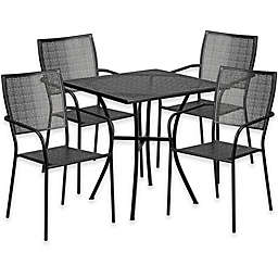 Flash Furniture 28-Inch Square Steel Patio Table and Square Chairs Set in Black