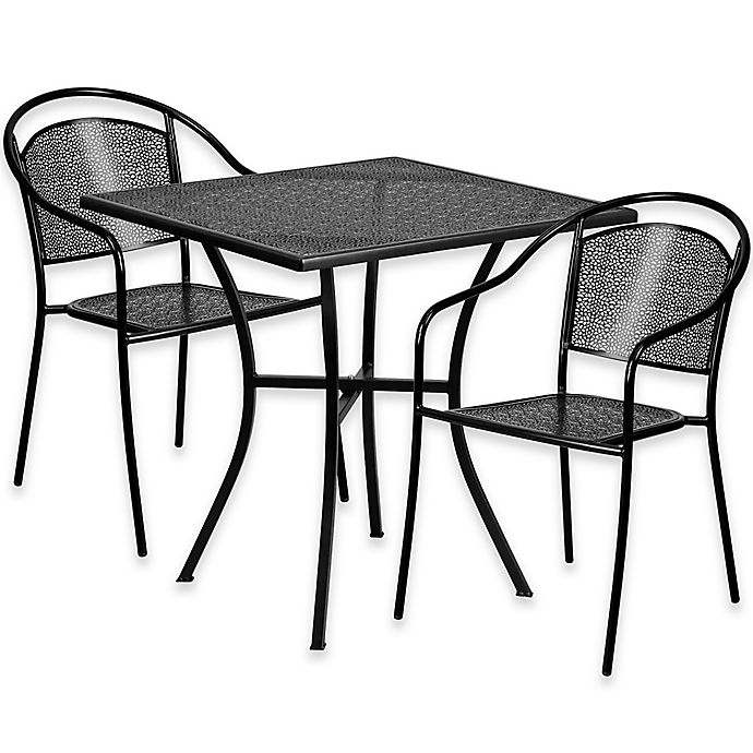 Alternate image 1 for Flash Furniture 3-Piece 28-Inch Square Steel Patio Table and Curved Chairs Set in Black
