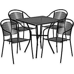 Flash Furniture 28-Inch Square Steel Patio Table and Curved Chairs Set in Black