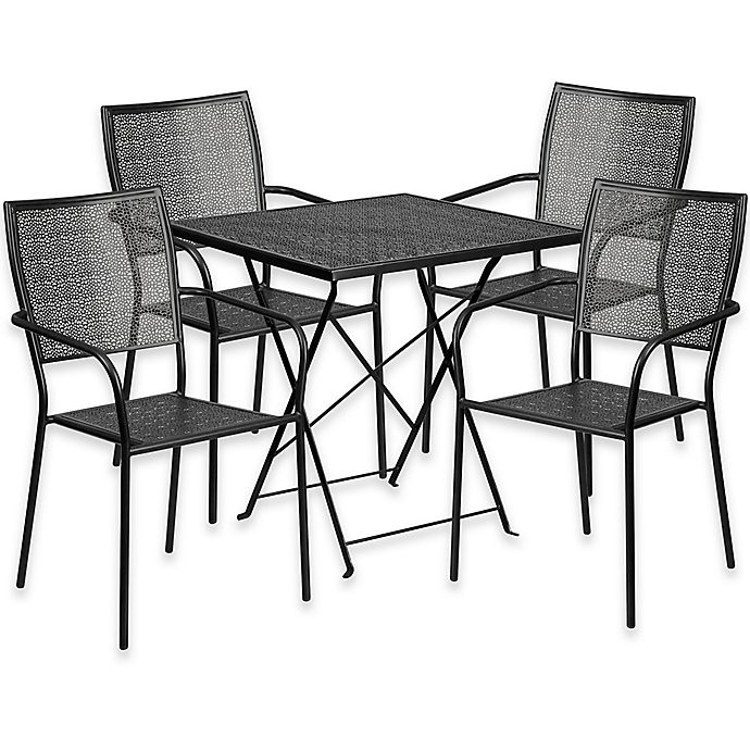 Buy Flash Furniture 5 Piece Metal Patio Folding Table And