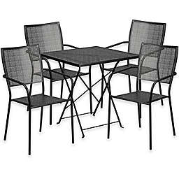 Flash Furniture Metal Patio Folding Table and Square-Back Chairs Set in Black