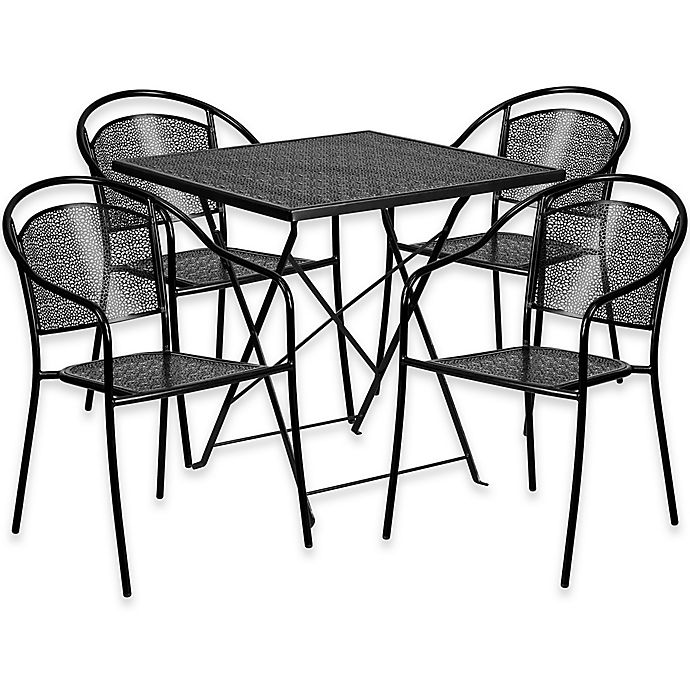 Alternate image 1 for Flash Furniture 5-Piece Metal Patio Folding Table and Round-Back Chairs Set in Black