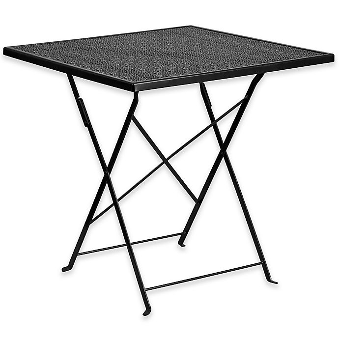 Alternate image 1 for Flash Furniture 28-Inch Square Folding Patio Table in Black