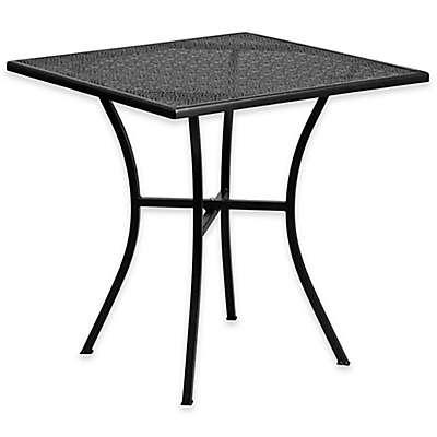 Flash Furniture 28-Inch Square Square Steel Patio Bistro Table in Black