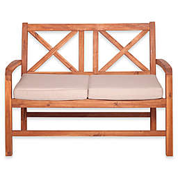 Forest Gate Aspen Acacia Wood Outdoor Loveseat with Cushions