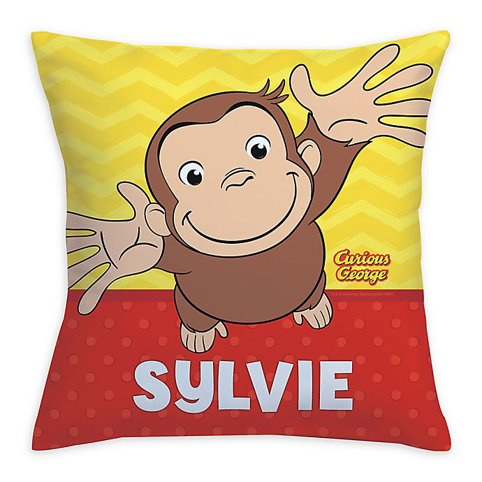 Alternate image 1 for Curious George Hug Me Square Throw Pillow in Yellow