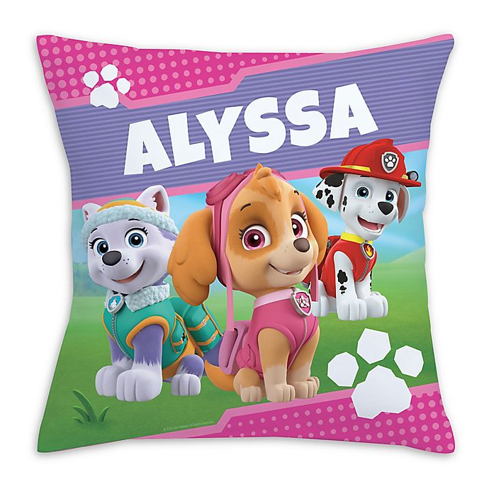 PAW Patrol Pawfect Pups Square Throw Pillow in Pink | Bed ...
