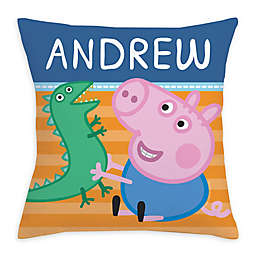 Peppa Pig George and Mr. Dinosaur Square Throw Pillow in Blue