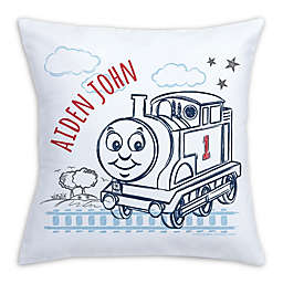 Thomas and Friends On the Tracks Square Throw Pillow in White