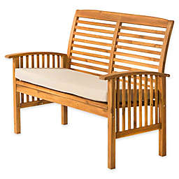 Forest Gate Eagleton Patio Acacia Wood Loveseat Bench with Cushion