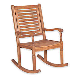 Forest Gate Eagleton Patio Acacia Wood Patio Rocking Chair in Dark Brown