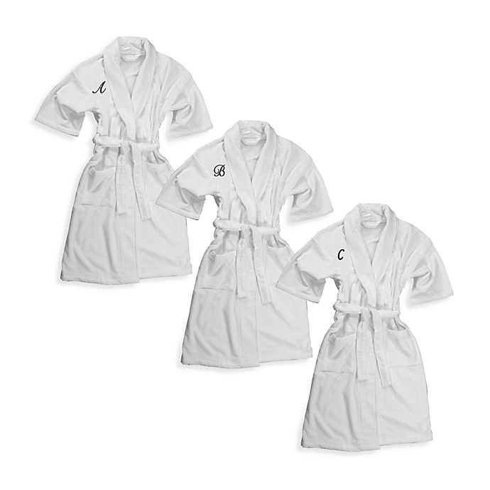 Alternate image 1 for Monogrammed 100% Cotton Bathrobe in White