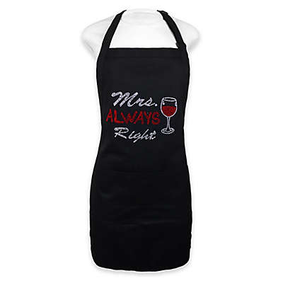 """""""Mrs. Always Right"""" Apron in Black"""