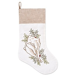 C&F Home Conch With Holly Stocking in White