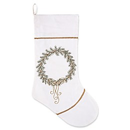 C&F Home Golden Greenery Wreath Stocking in White