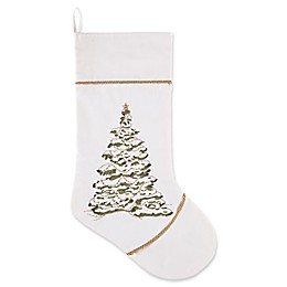 C&F Home Golden Greenery Tree Stocking in White