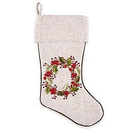 C&F Home Berry Wreath Ribbon Stocking in White