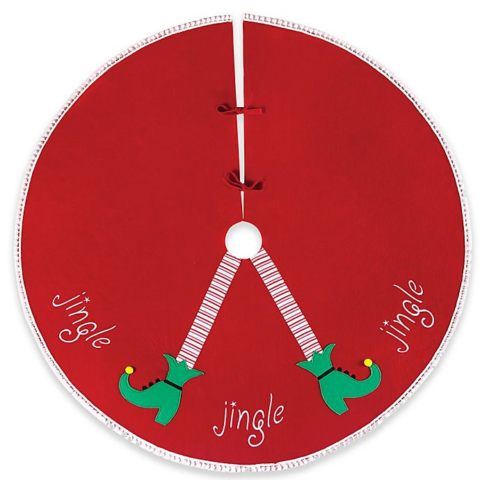 cf home jingle elf legs christmas tree skirt in red