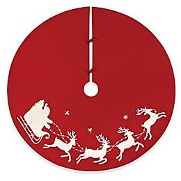 C&F Home Santa Sleigh Christmas Tree Skirt in Red
